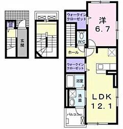 リジエールII 3階1LDKの間取り