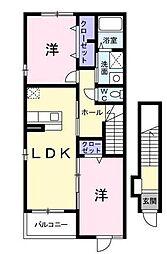 パレ・ドールA[2階]の間取り