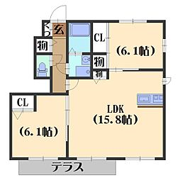 シャーメゾン山崎[105号室]の間取り
