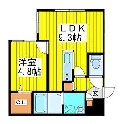 札幌市営東豊線 さっぽろ駅 徒歩9分の賃貸マンション 3階1LDKの間取り