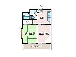 神奈川県相模原市南区東林間4丁目の賃貸マンションの間取り