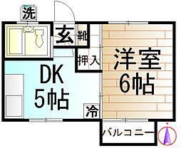 コーポ白樺[1階]の間取り
