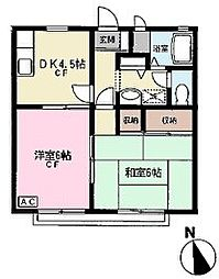 東京都江戸川区松江4丁目の賃貸アパートの間取り