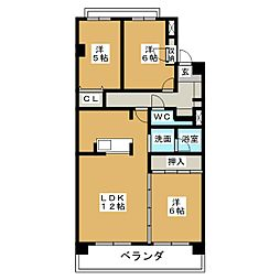愛知県名古屋市天白区元八事5丁目の賃貸マンションの間取り