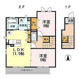 D-room シンフォニーA棟[2階]の間取り