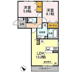 広島県福山市多治米町3丁目の賃貸アパートの間取り