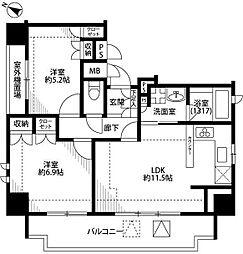 東京都北区赤羽1丁目の賃貸マンションの間取り
