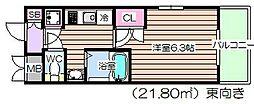 大阪府大阪市北区南森町2丁目の賃貸マンションの間取り