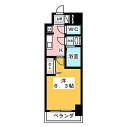 アステリ鶴舞エーナ 7階1Kの間取り