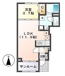 ライジングコートI・II[1階]の間取り