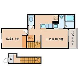 近鉄大阪線 大福駅 徒歩19分の賃貸アパート 2階1LDKの間取り