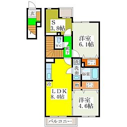 西鉄天神大牟田線 八丁牟田駅 徒歩12分の賃貸アパート 2階2LDKの間取り
