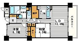 エル・セレーノ上本町レジデンス[15階]の間取り