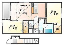 クレモンティーヌA[2階]の間取り