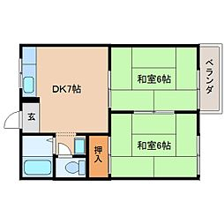 奈良県奈良市四条大路2丁目の賃貸アパートの間取り