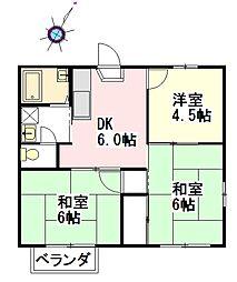 埼玉県桶川市大字下日出谷の賃貸アパートの間取り