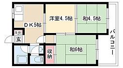 愛知県名古屋市瑞穂区白砂町2丁目の賃貸マンションの間取り