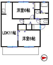 兵庫県姫路市北今宿 2丁目の賃貸アパートの間取り