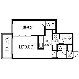 札幌市電2系統 西線11条駅 徒歩7分の賃貸マンション 4階1LDKの間取り