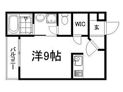 THE GARNET SUITE RESIDENCE龍谷大前 1階ワンルームの間取り