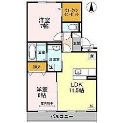 D−room福島[202号室]の間取り