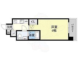 エスリード京橋桜ノ宮公園 2階1Kの間取り