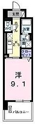 JR埼京線 武蔵浦和駅 徒歩13分の賃貸マンション 5階1Kの間取り