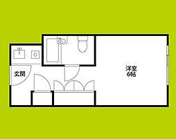 ステュディオ新大阪 6階ワンルームの間取り