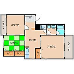 奈良県奈良市学園大和町の賃貸マンションの間取り