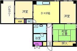 大阪府堺市北区百舌鳥梅北町5丁の賃貸マンションの間取り
