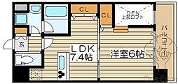 大阪府大阪市北区中津6丁目の賃貸マンションの間取り