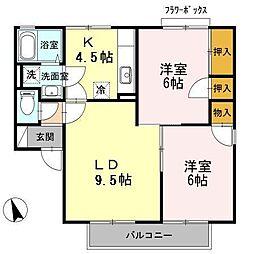 長野県松本市野溝西1丁目の賃貸アパートの間取り