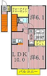 千葉県柏市大青田の賃貸アパートの間取り