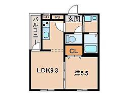 JR阪和線 和歌山駅 徒歩6分の賃貸アパート 2階1LDKの間取り