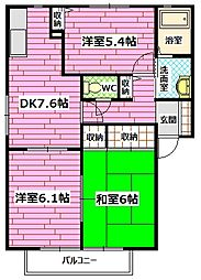 広島県広島市安佐南区高取北2丁目の賃貸アパートの間取り