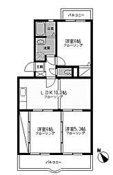 神奈川県相模原市中央区東淵野辺1丁目の賃貸マンションの間取り