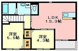 大阪府枚方市山之上北町の賃貸アパートの間取り