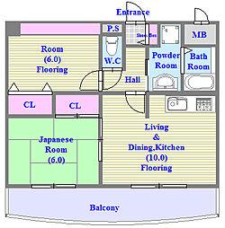 フェリスメンテ・狩口台[3階]の間取り