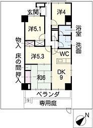 天神山マンションII号館[1階]の間取り