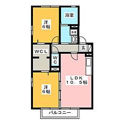 グランディールA[2階]の間取り