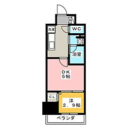 パークアクシス新栄 5階1DKの間取り