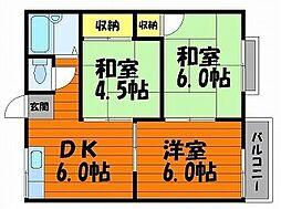 エフシリーズ東富井B棟[2階]の間取り