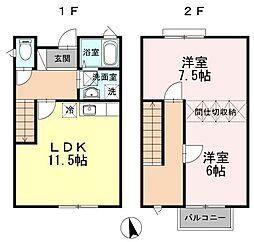 [テラスハウス] 広島県福山市山手町6丁目 の賃貸【/】の間取り