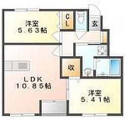 岡山県岡山市南区福吉町の賃貸アパート 1階2LDKの間取り