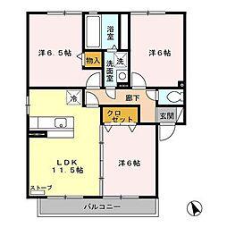アバンサードA[2階]の間取り