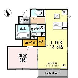 東京都羽村市小作台5丁目の賃貸アパートの間取り