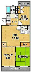 茨城県つくば市松代1丁目の賃貸マンションの間取り