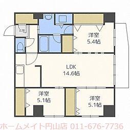 北海道札幌市中央区南十九条西14丁目の賃貸マンションの間取り