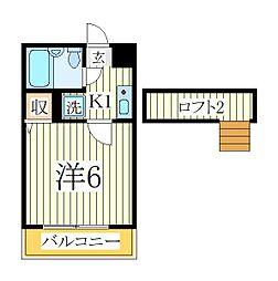 ジュネパレス松戸第518[2階]の間取り
