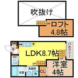 愛知県名古屋市北区生駒町3丁目の賃貸アパートの間取り
